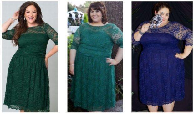вечерние платья: для полных выше колена ажурные