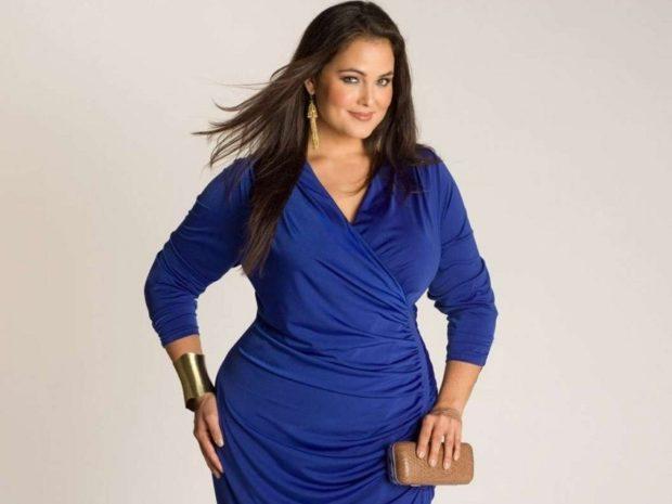 синее платье вечернее 2018 рукав 3/4 стильное тенденции тренды фото новинки