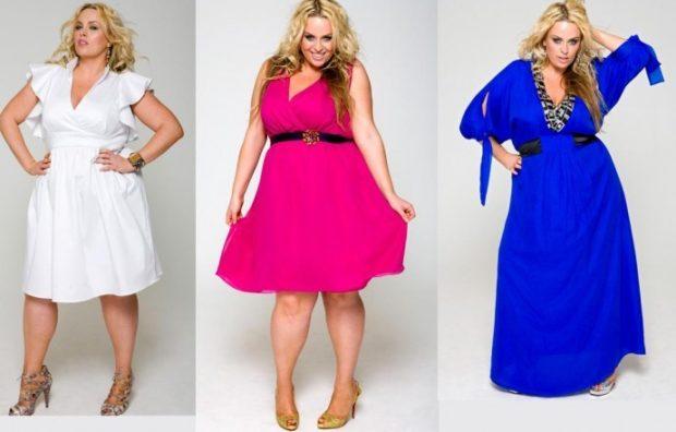 вечерние платья: укороченное белое розовое синее длинное