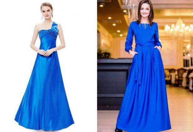 вечерние платья модные тенденции: синее длинное одно плечо открыто с длинными рукавами
