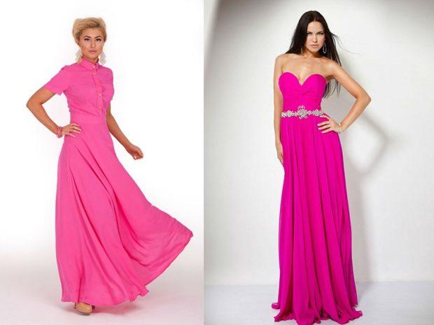 вечерние платья модные тенденции: длинные розовые с коротким рукавом бюстье