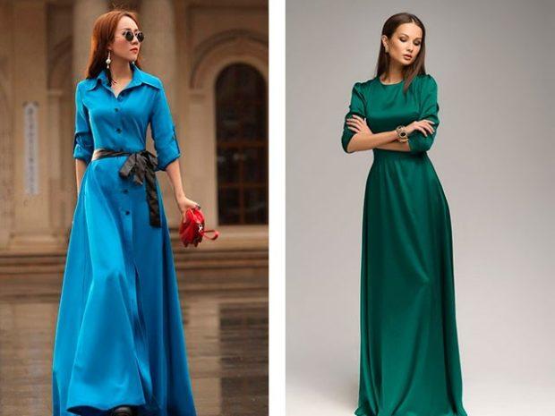 вечерние платья 2019-2020 модные тенденции: синее и зеленое длинные рукава 3/4