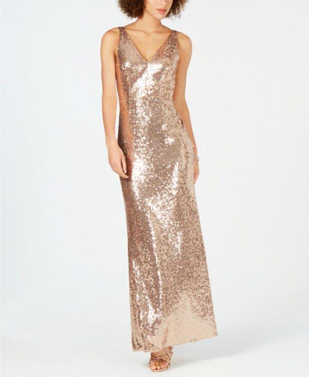 вечерние платья 2019-2020: блестящее золотое длинное