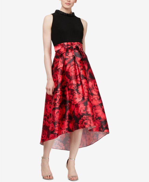 вечернее платье: маллет черный верх красный низ
