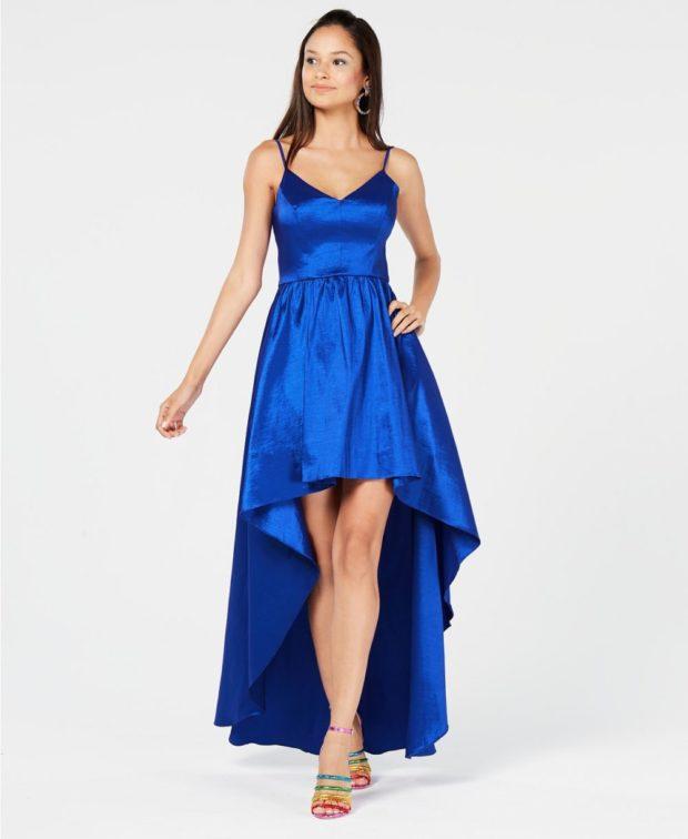 вечернее платье: маллет синее длинное