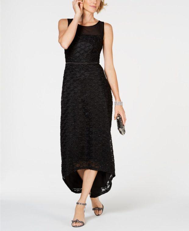 вечернее платье: маллет черное длинное