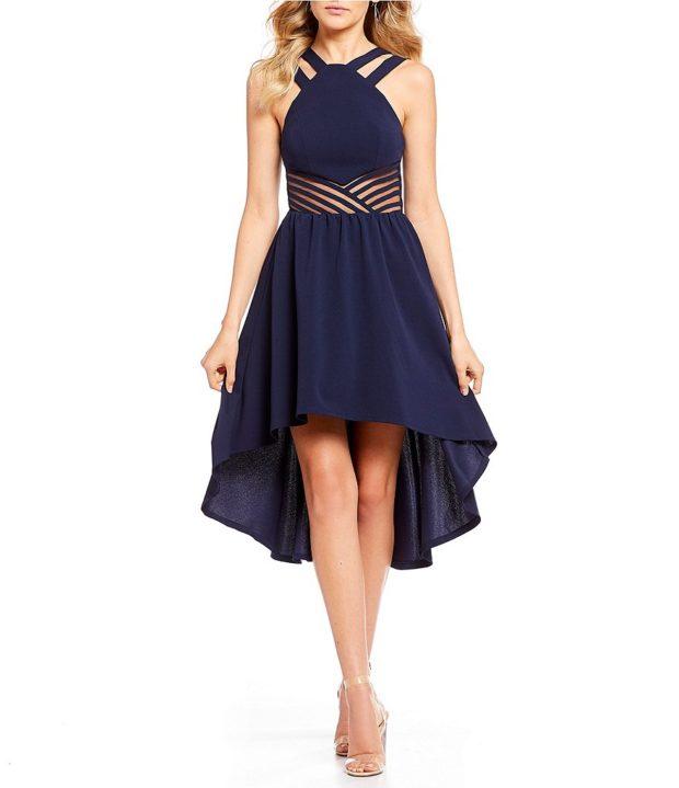 вечернее платье: маллет темно-синее