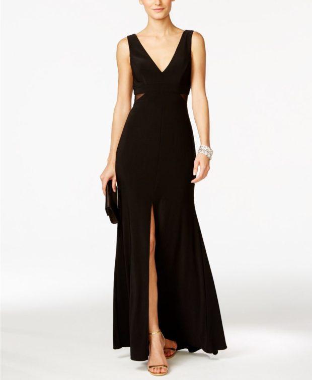 вечерние платья 2019-2020: черное с разрезом