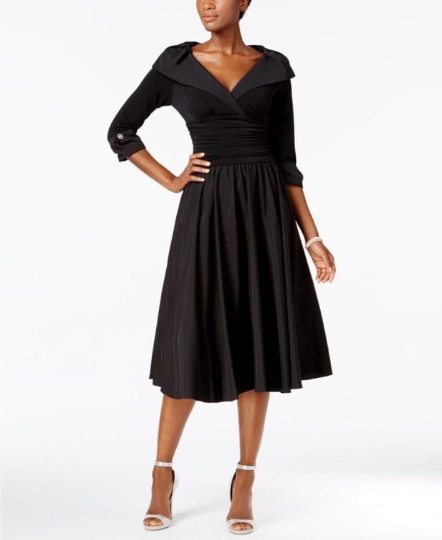 вечерние платья 2019-2020: черное миди короткий рукав