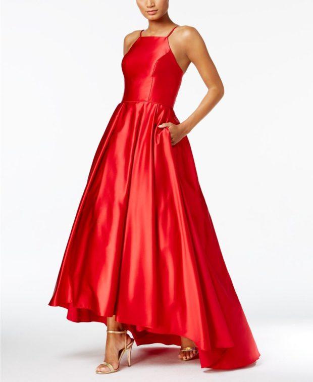 вечерние платья 2019-2020: красное атласное