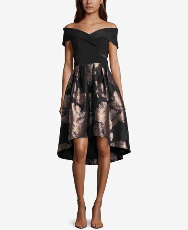 вечерние платья 2019-2020: черное открытые плечи