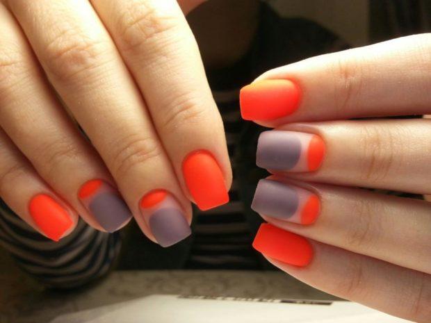 яркий маникюр серый с оранжевым матовый