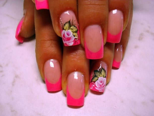 яркий френч розовый с рисунком
