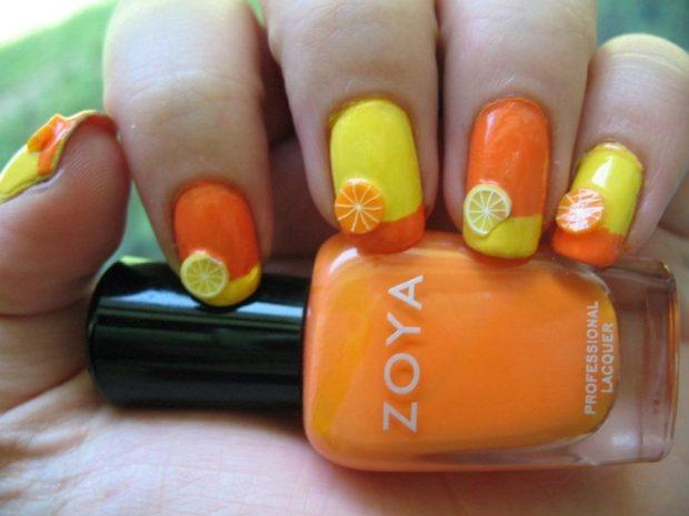 фруктовый маникюр апельсин лимон