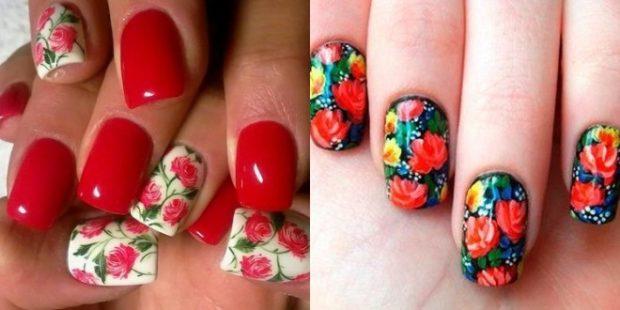 цветочный маникюр розы