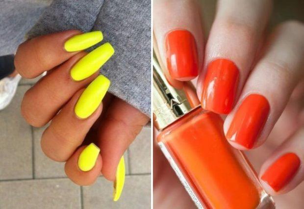 яркий маникюр 2018 желтый оранжевый модные тенденции фото новинки гель лак