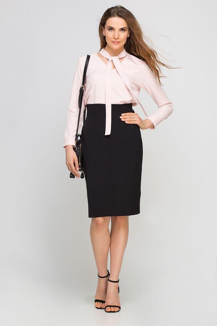 черная юбка карандаш и белая блуза