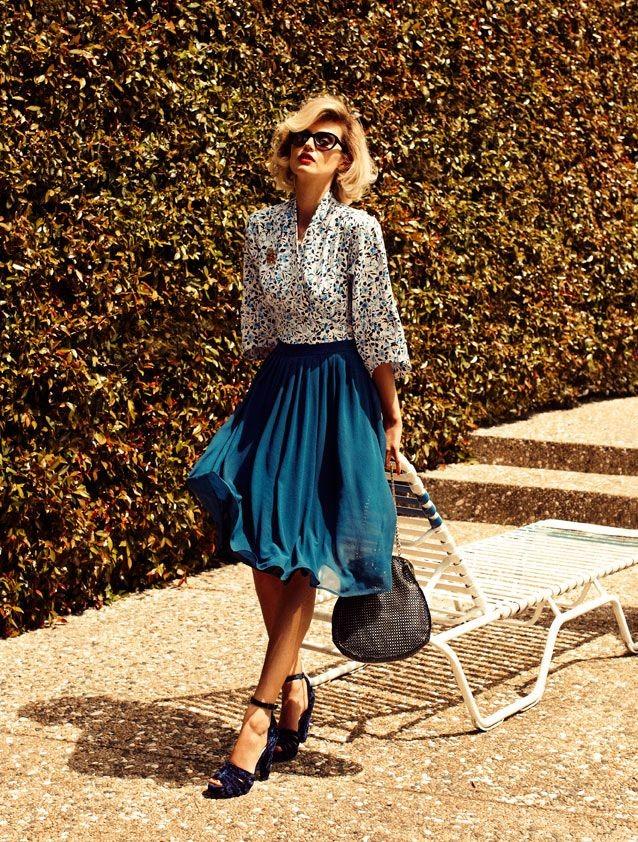 легкая блуза принт и шифоновая юбка