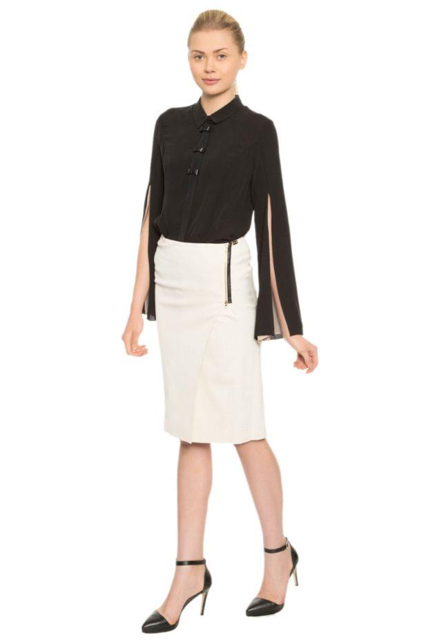 черная блуза и белая юбка карандаш