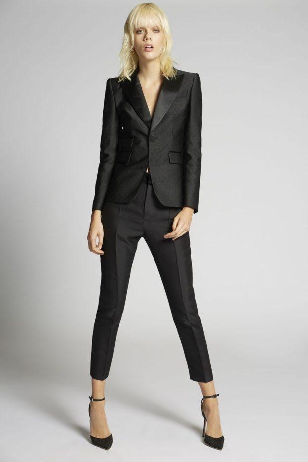 Мода весна лето 2021 для женщин за 40: черный брючный костюм