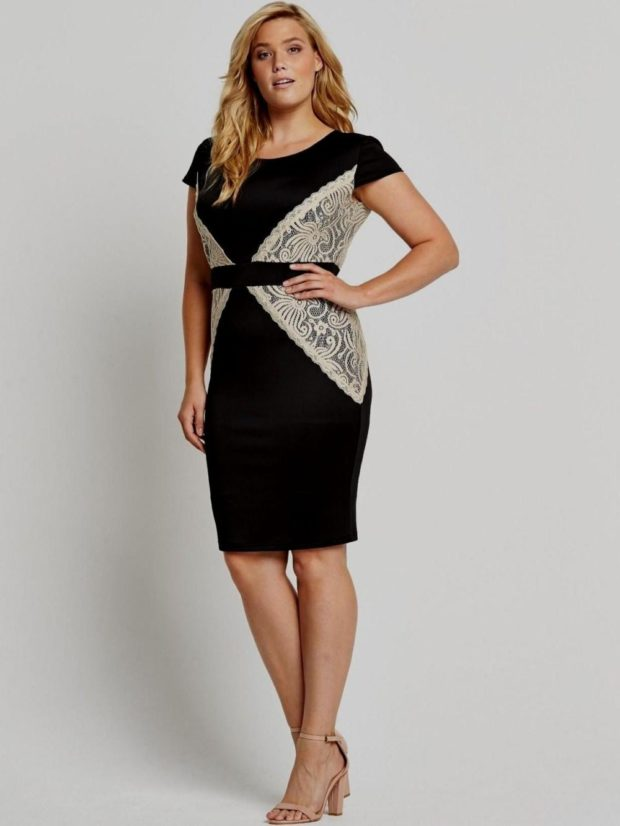 Мода весна лето 2021 для женщин за 40: черное платье со светлыми вставками