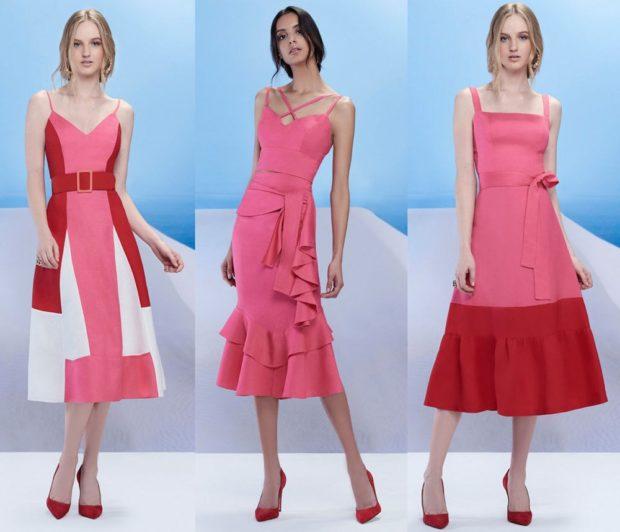 мода в женской одежде: платья розово-красные без рукава по колено