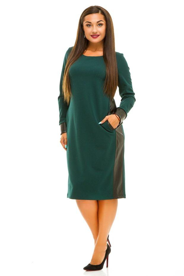 мода в одежде: зеленое платье по колено