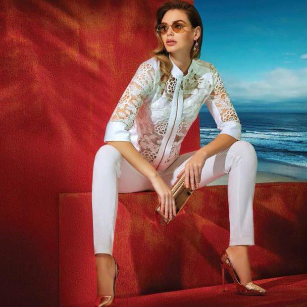 мода в одежде: белые штаны под ажурную блузку