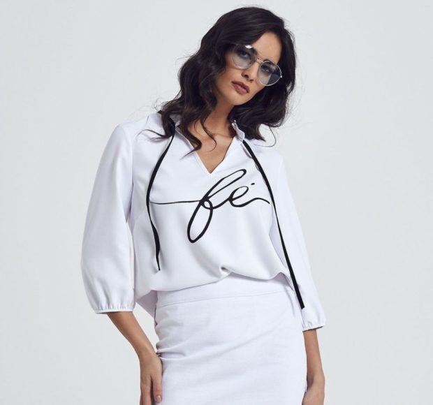 мода в одежде: белая блузка с рукавом 3/4 под юбку