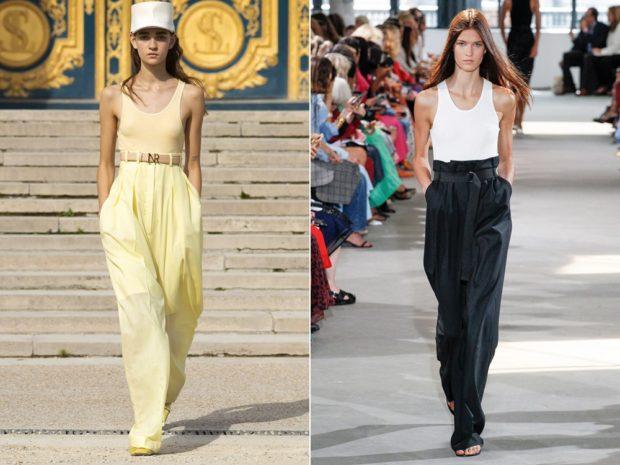 мода в одежде: широкие брюки с высокой талией желтые черные