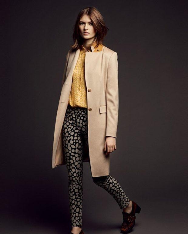 мода в одежде: бежевое пальто длина миди