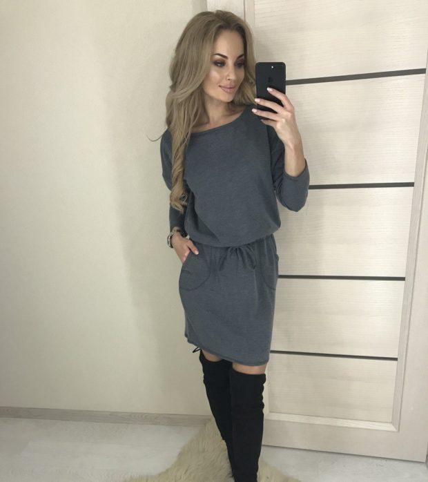 мода в одежде: теплое серое платье