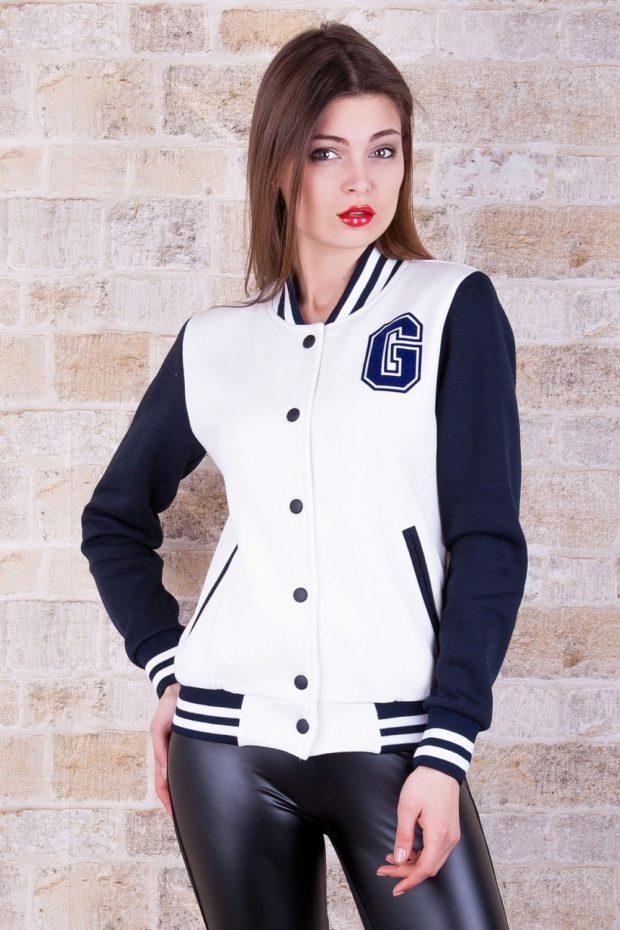 мода 2019-2020: куртка-бомбер белая с синий