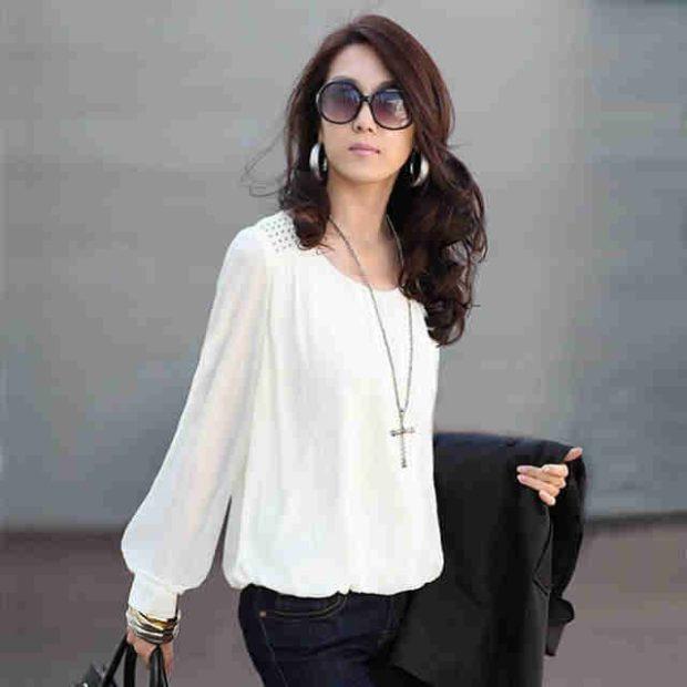белая блузка рукав-колокол