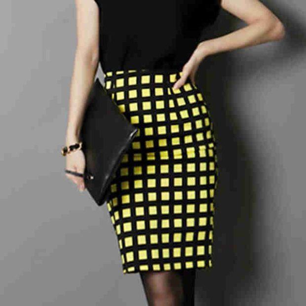 юбка-карандаш желтая с черным в клетку