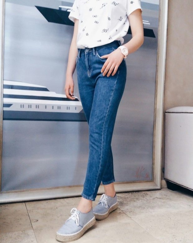 джинсы синие прямые классика