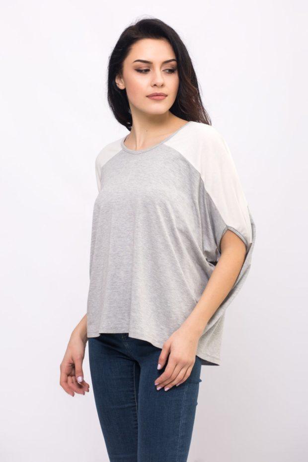 футболка оверсайз серая с белым