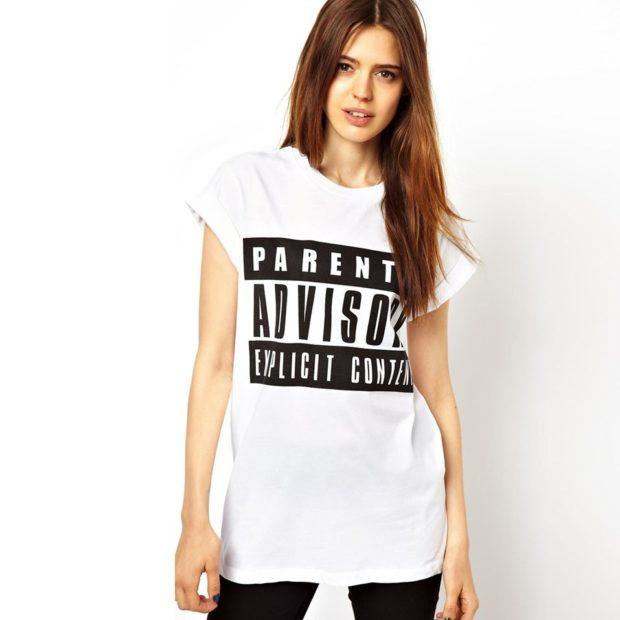 футболка широкая длинная с надписями