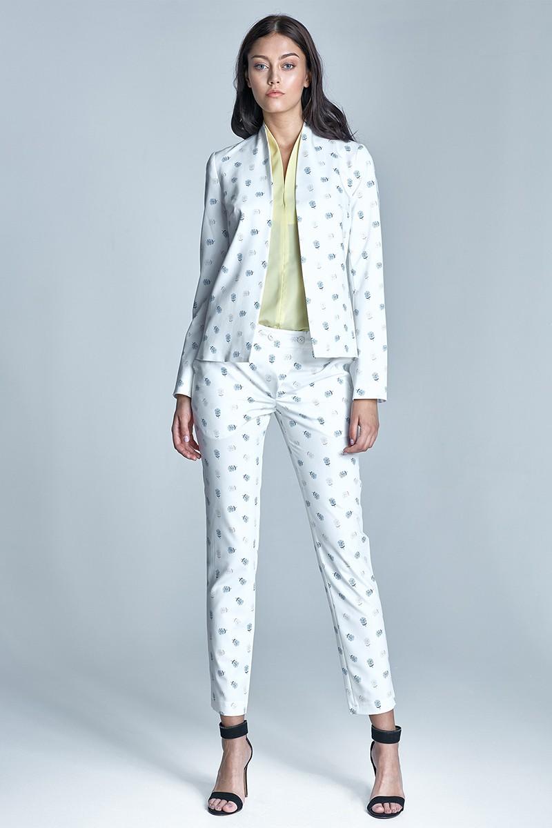 деловой костюм брюки пиджак белый с рисунком