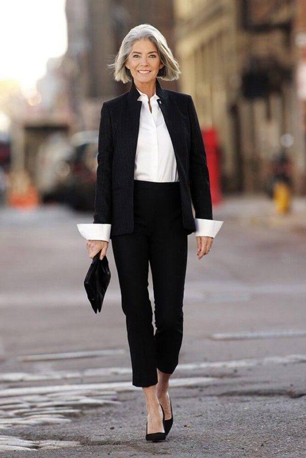 черный брючный костюм под белую блузку
