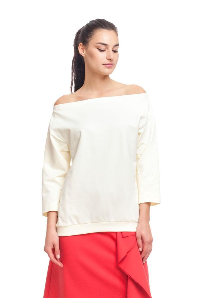 белая блузка с открытыми плечами длинный рукав
