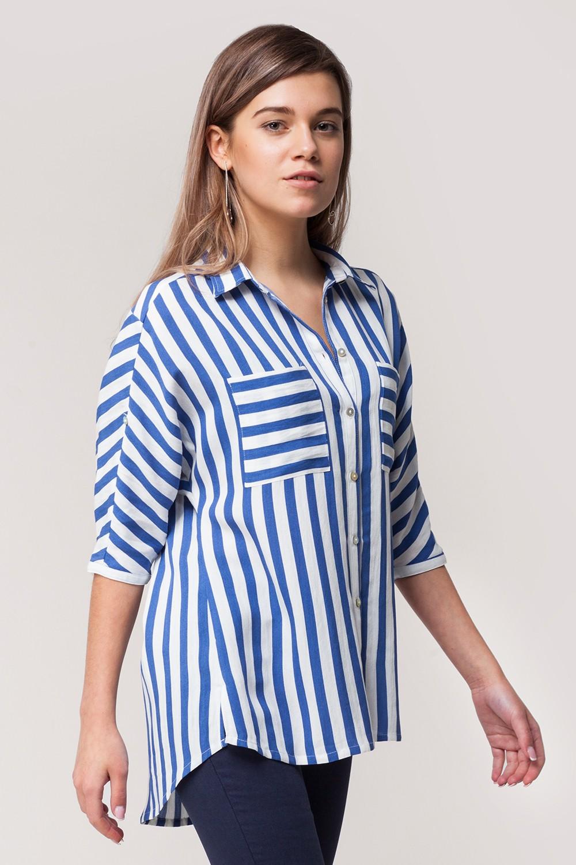 блузка синяя с белым полоска