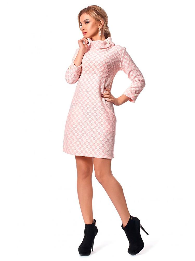 платье короткое розовое с длинным рукавом