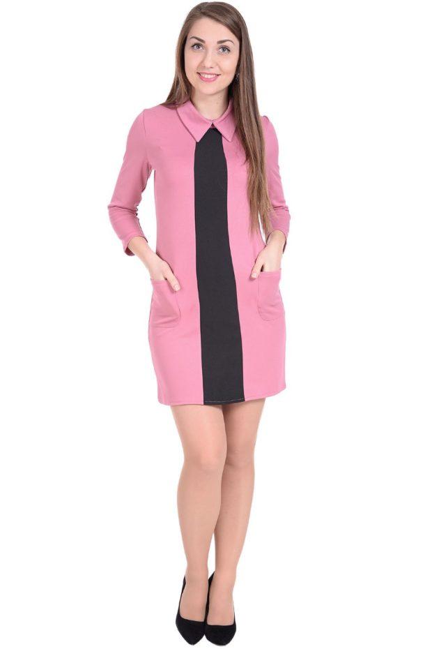 платье офисное розовое с черным