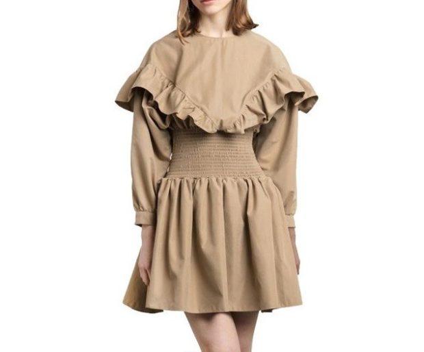 коричневое платье с длинным рукавом с оборками