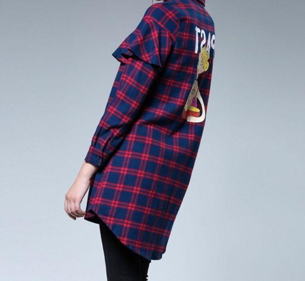 рубашка в клетку синяя с красным с оборками