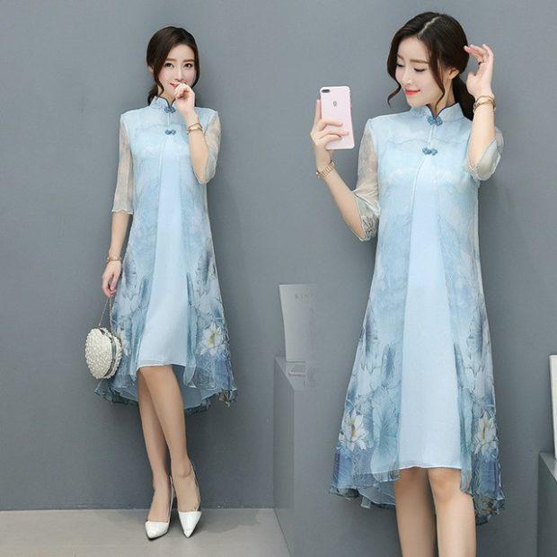 голубое платье с шифоновой накидкой