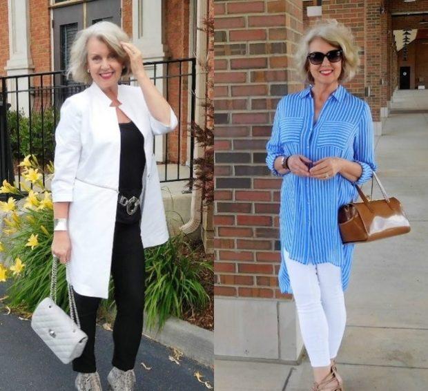 черные брюки и блузка под белый жакет белые брюки под полосатую рубашку голубую с белым