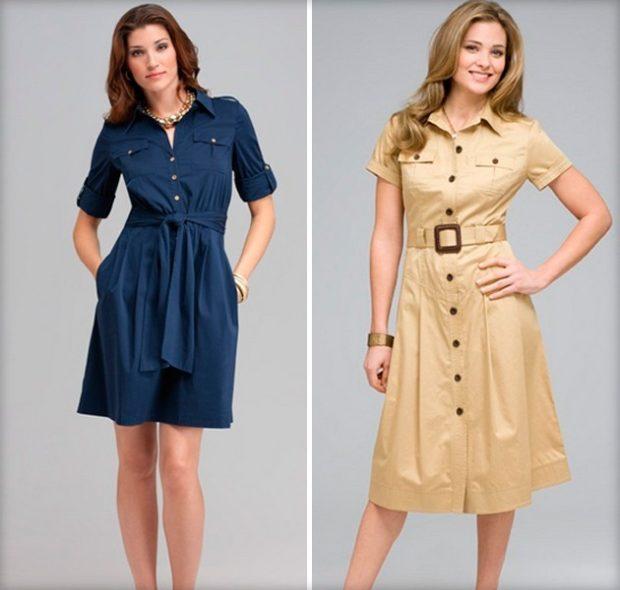 платье рубашка синее короткое платье рубашка бежевое с поясом