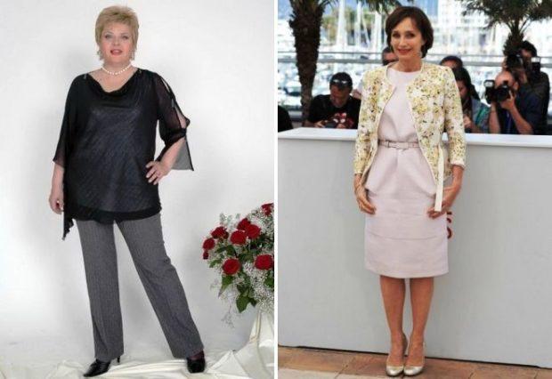 серые брюки под черную блузку светлое платье под жакет в цветы